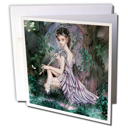 3dRose An mythical elf creature of the forest who plays a haunting melody on an enchanted flute - Greeting Cards, 6 x 6 inches, set of 12 (gc_11646_2) ()
