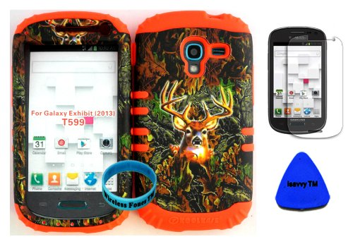 Hybrid Impact Rugged Cover Case for 2013 Release Samsung Galaxy Exhibit 4G T599 Camo Mossy Deer Hunter Series on Orange Skin (Included: Screen Protector, Wristband and Pry Tool Exclusively By Wirelessfones TM)