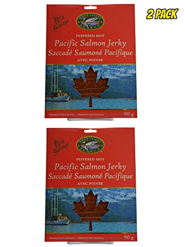(Wild Caught Canadian Smoked Salmon Jerky 2 Pack Seafood Fish Jerky From Pacific British Colmubia (Hot/Peppered))