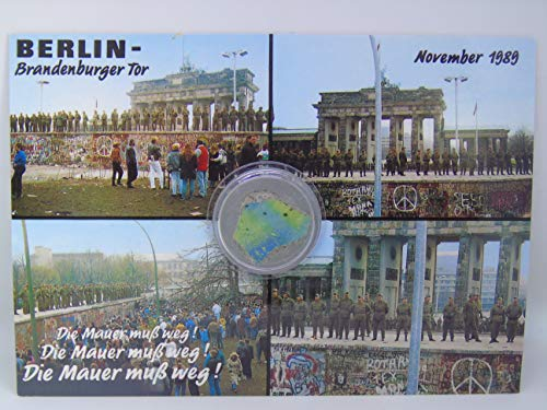 POSTCARD WITH SMALL AUTHENTIC PIECE OF THE BERLIN WALL'Brandenburg gate 1989', Germany