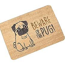 Beware Of The Pug Funny Rug Non-slip Doormat 23.6''(L)×15.7''(W)