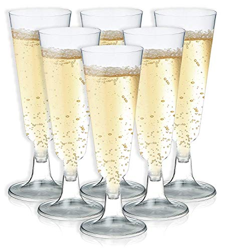 (Champagne Flutes - 50-Count Plastic Champagne Glasses, Toasting Flute Set, Clear Drinking Glasses, Drinkware for Housewarming Parties, Formal Events, Graduation Celebrations, 5 Fl.Oz)