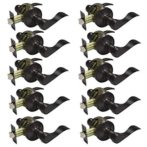 Probrico Interior Keyless Door Leverset Oil Rubbed Bronze Passage Door Lever Handles Locksets 10 Pack (Bronze Triple Handle)