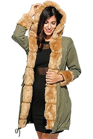 e59b40d99b13 Bulges Faux Fur Winter Jacket Parka Hooded Coat Fishtail Long Trench  Overcoat