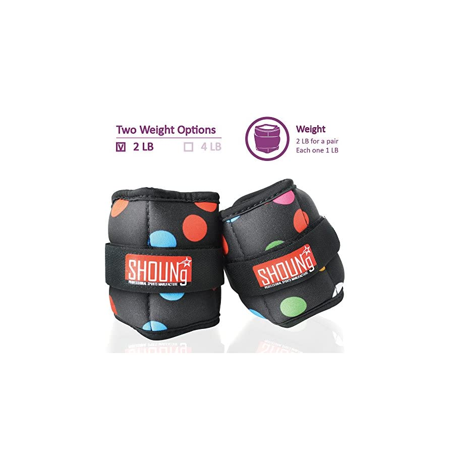 SHOUNg Personalised Ankle Weights/Wrist Weights (1 Pair) with Adjustable Strap for Fitness, Workout, Exercise, Walking, Jogging, Gymnastics, Aerobics and Gym(2lbs 4lbs 5lbs 10lbs)