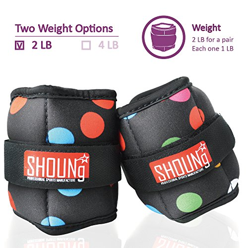 SHOUNg Personalised Ankle Weights / Wrist Weights (1 Pair) with Adjustable Strap for Fitness, Workout, Exercise, Walking, Jogging, Gymnastics, Aerobics and Gym(2lbs 4lbs 5lbs 10lbs)