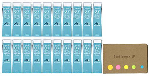 Uni NanoDia Color Mechanical Pencil Leads, 0.7mm, Mint Blue, 20-pack/total 400 Leads, Sticky Notes Value Set by Stationery JP (Image #2)