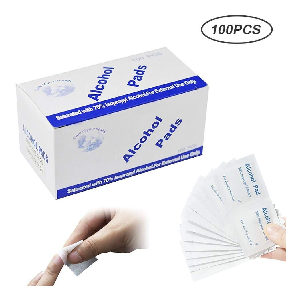 Umiwe 100Pcs Sterile Alcohol Prep Pads,Alcohol Swabs Pads for Nail Art Disinfection,Wipes Skin Cleanser - Portable Home Use