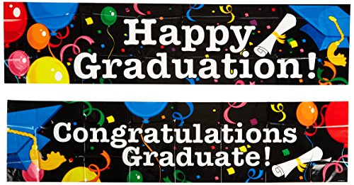 Beistle 2-Pack Graduation Banners, 15-Inch by 5-Feet