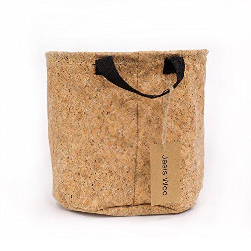 Storage Bin Organizer Basket Small Round with Handle Collapsible (10 x 10inch) (Oak Bark) Jasis Woo