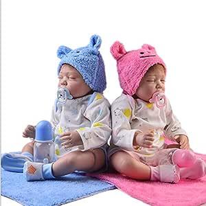 Mr.LQ Rebirth Baby Doll Twins 55cm Ojos Cerrados Bebé simulado ...