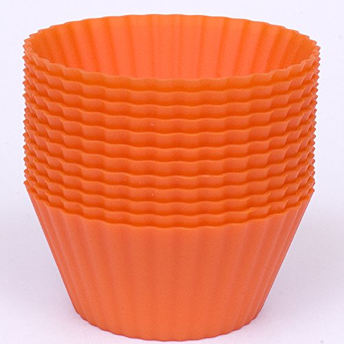 (Silicone Cupcake Liners - Set Of 12 Premium Orange Muffin Baking-Cups In Storage)