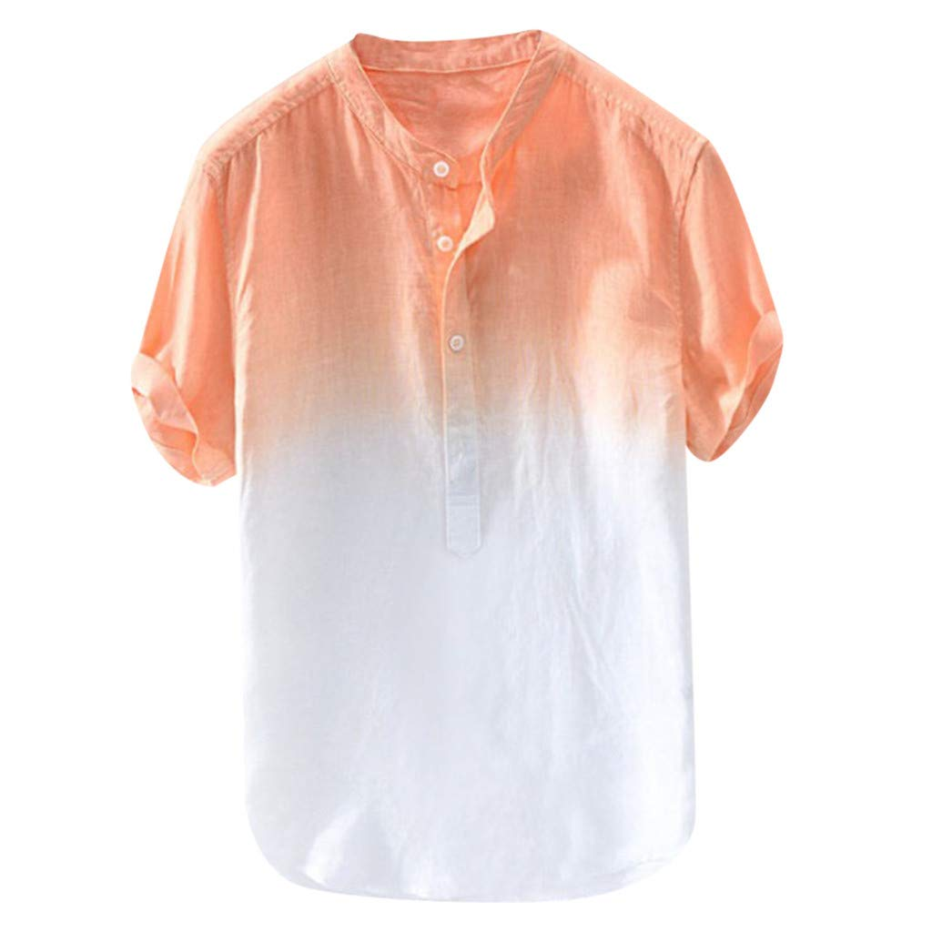 DIOMOR Mens Casual Long//Short Sleeve Linen Shirt Fashion Gradient Color Tees Beach Tops Henley Neck Button Up Shirts