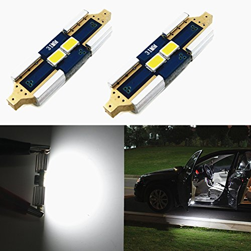 "Alla Lighting White 31mm(1.25"") Super Bright High Power 3623 SMD LED Bulbs DE3175 DE3021 DE3022 3175 for Interior Festoon Map Dome License Plate Lights Lamps Replacement"