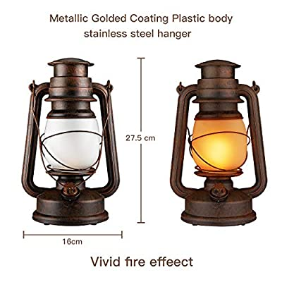 LED Vintage Lantern,Realistic Flicker Flame Outdoor Hanging Lantern Battery Operated Camping Night Lights with Remote Landscape Decorative for Garden Patio Deck Yard Path 2 Pack (Copper)