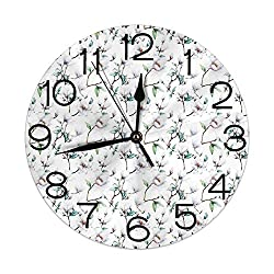 GULTMEE Round Wall Clock Home Decorative, Flower Garden in Nature with Leaves Royal Mallows in Spring Art Print for Living Room Office Bedroom
