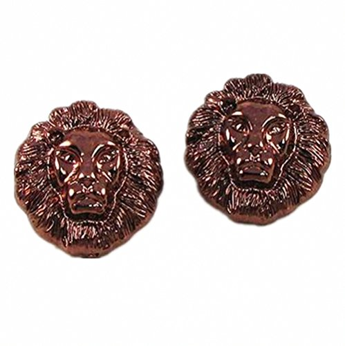 Alloy Lion Head Stud Earrings Cute Lovely Animal Gift Jewelry (Red Copper)