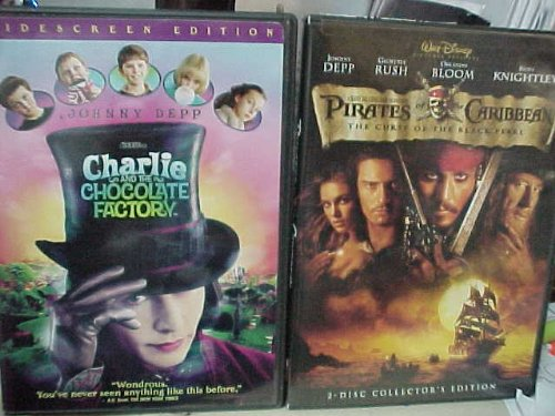 - Johnny Depp 2 Pack : Pirates of the Caribbean Curse of the Black Pearl & Charlie and the Chocolate Factory