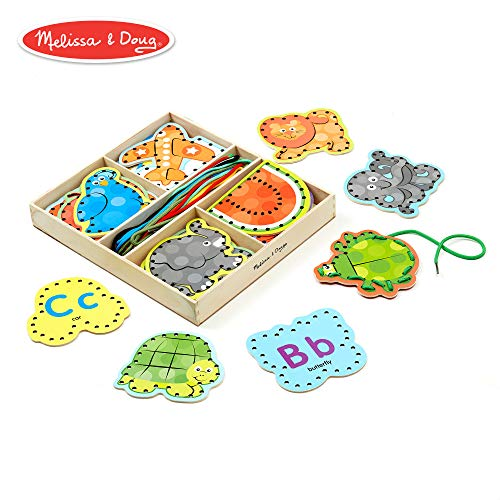 Melissa & Doug Alphabet Wooden Lacing Cards With Double-Sided Panels and Matching ()