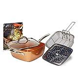 4 PCS/Set Non-Stick Copper Square Pan With Glass Lid Fry Basket Steam Rack