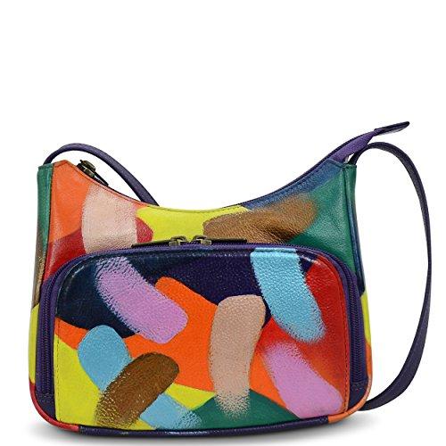 (Anuschka Women's Crossbody Leather Hand Painted Travel Organizer,Painterly Palette )