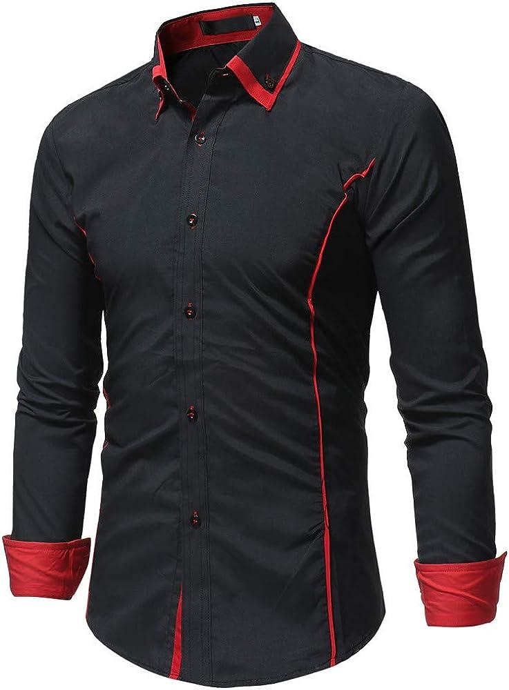 Fllay Men Lapel Loose Fit Solid Color Long Sleeve Regular Button Down Shirt