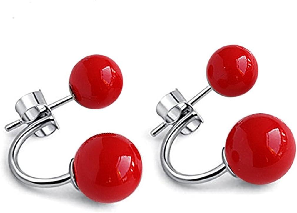 Pendientes mujer plata de ley 925 con rojos perlas pendientes studs joyería de mujer y niñas