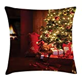 Ambesonne Christmas Throw Pillow Cushion Cover, Xmas Scene with Decorated Luminous Tree and Gifts by The Fireplace Artful Image, Decorative Square Accent Pillow Case, 24 X 24 inches, Red Yellow