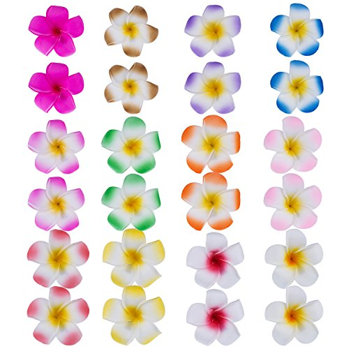 Mudder 24 Pieces Hawaiian Plumeria Flower Hair Foam Hawaii Hair Clips (2.4 (Hawaiian Hair Clips)