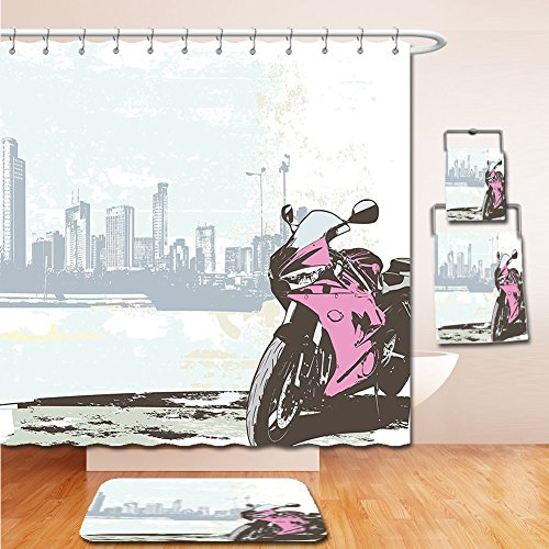 LiczHome Bath Suit: Showercurtain Bathrug Bathtowel Handtowel Motorcycle Decor Tapestry Illustration of Sport Bike by River on Modern Cityscape Background with Skylines Pink and - Macys Ny Outlet