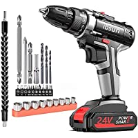 ibsun 21V Max Power Cordless Drill Electric Impact Driver/Drill Kit with 2 Variable Speed(0-1500) 3/8'' Keyless Chuck 25…