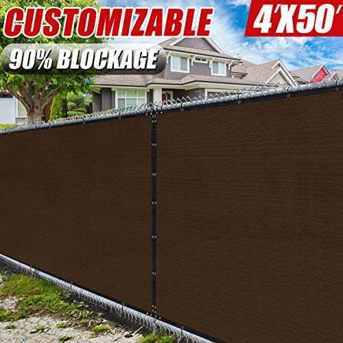 (Amgo 4' x 50' Brown Fence Privacy Screen Windscreen,with Bindings & Grommets, Heavy Duty for Commercial and Residential, 90% Blockage, Cable Zip Ties Included, (Available for Custom Sizes))