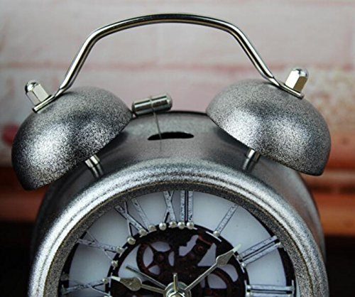 Silver 5'' Two Bells Alarm Clocks Retro Wood Color Rivet Non-ticking Silent Quartz Vintage bedside Twin Bell Table Clock Desk Clocks Desktop Clock with Nightlight and Loud Alarm by Usany by Usany (Image #3)
