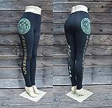 Glow in the Dark Full Moon and Zodiac Leggings - Lunar Leggings - Sacred Geometry - Yoga Wear