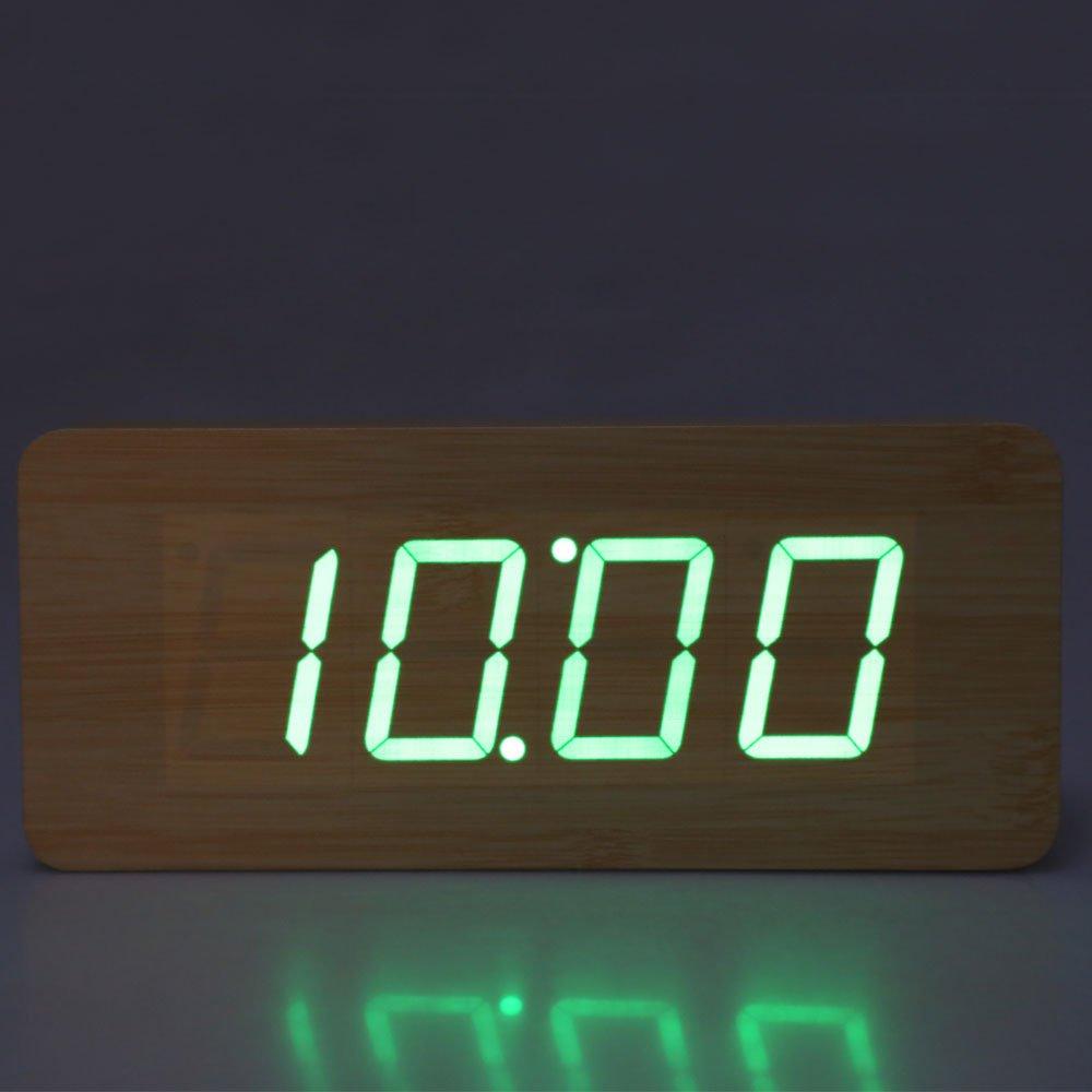 Vktech-Reloj digital con estructura de madera y luz LED, despertador integrado de sobremesa verde Verde - verde Style A: Amazon.es: Hogar