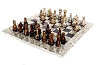 RADICALn 16 Inches Handmade Fossil Coral and Dark Brown Marble Full Chess Game Original Marble Chess Set