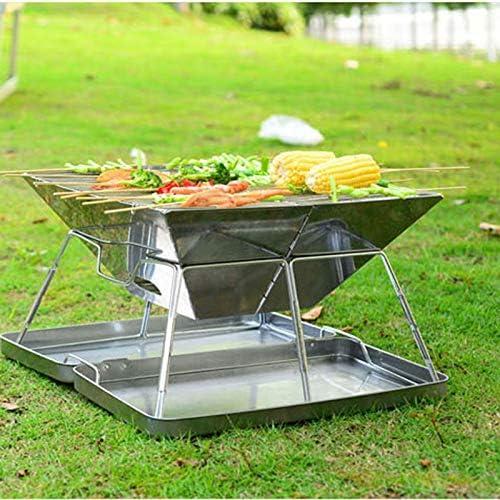 SHJR Barbecue au Charbon Grill en Acier Inoxydable Portable Grill Surface Non-adhésive Pliante Gril Camping en Plein air de Pique-Nique Outils de Cuisine