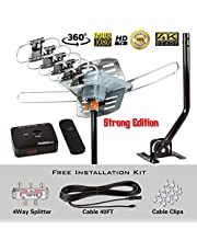$38 » FiveStar HDTV Antenna Amplified Digital Outdoor Antenna with Mounting Pole-150 Miles Range-360 Degree Rotation Wireless Remote-Snap-On Installation Support 5 TVs