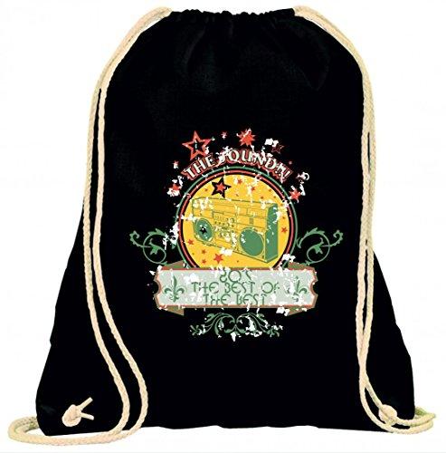 Turnbeutel the sound 80´s the best of the best Music Rock n Roll Rocker Bike Auto Reise Travel Palmen 80er 90er mit Kordel - 100% Baumwolle- Gymbag- Rucksack- Sportbeutel Schwarz HdCHtH75n