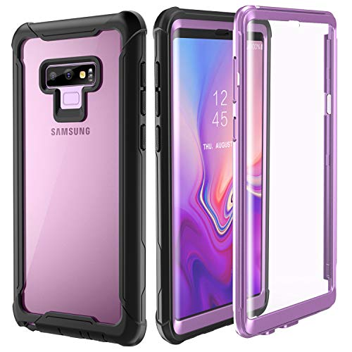 Samsung Galaxy Note 9 Cell Phone Case - Full Body Case with Built-in Touch Sensitive Anti-Scratch Screen Protector, Ultra Thin Clear Shock Drop Proof Durable Protective Cover (Purple) (Cell Cases Samsung)