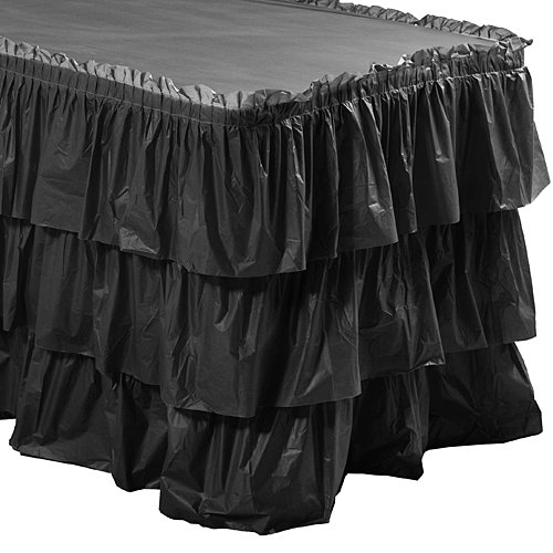 Black 3 Tier Ruffled Table Skirt by Shindigz