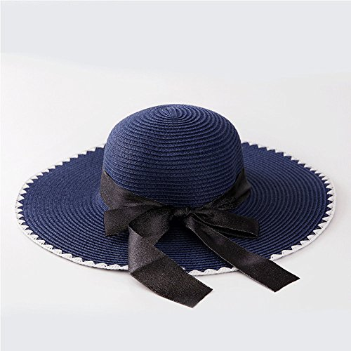 Gaojuan Bow-Knot Wave Pattern Straw Hat New Summer Ladies Hat Tourist Beach Cap Korean Version of Sunscreen Sun Hat Visor Cap Straw Hat (Color : ()