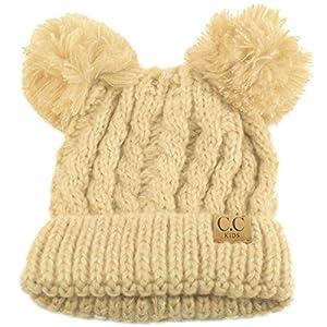 26e3ebbdd92 SK Hat shop Kids CC Ages 2-7 Pom Pom Ears Chunky Thick Stretchy Knit ...