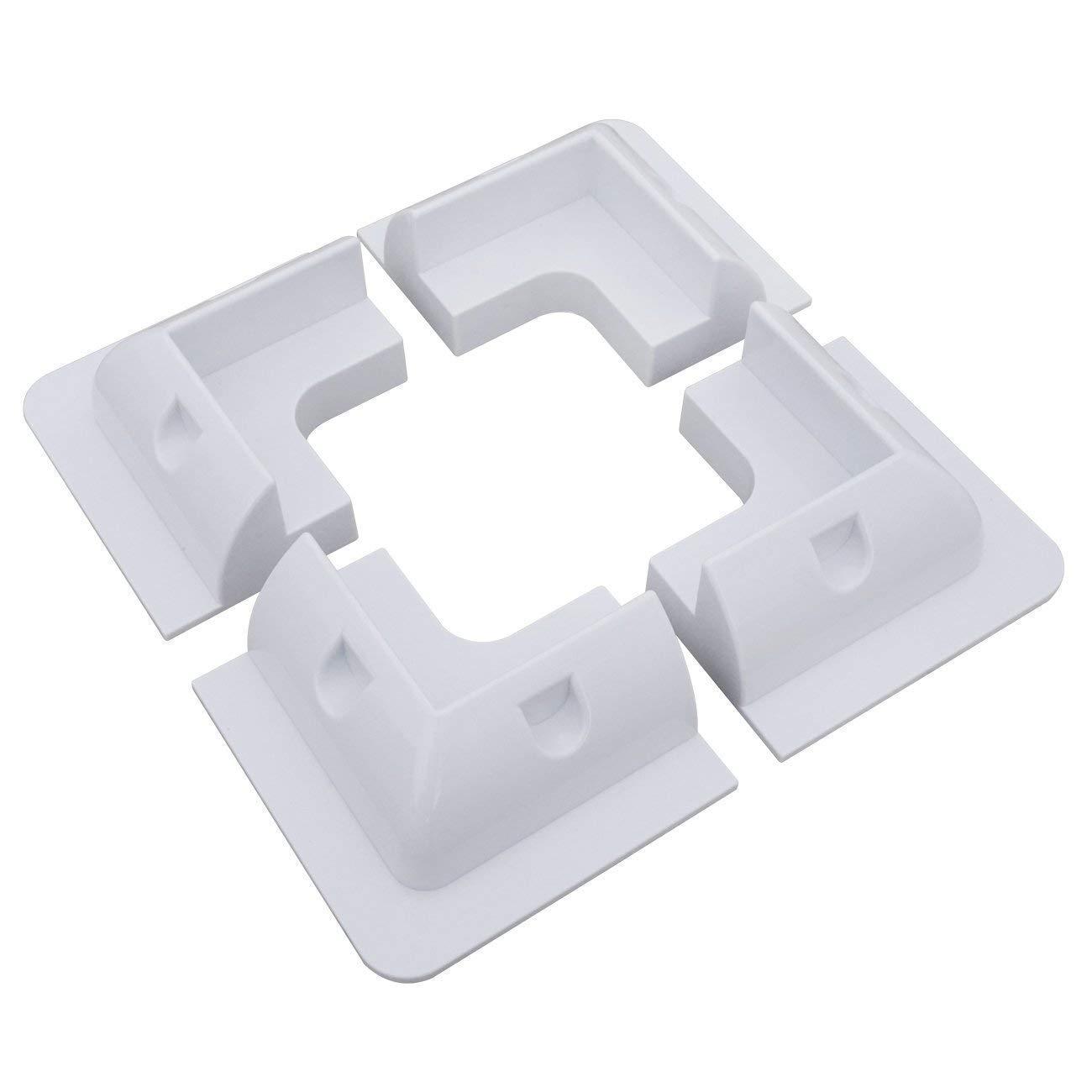 Soportes de panel solar de ABS blanco, 4 soportes de montaje de esquina libres de taladro, kit de soporte para marco de madera, RV, barco, campistas, caravanas (soporte de esquina)