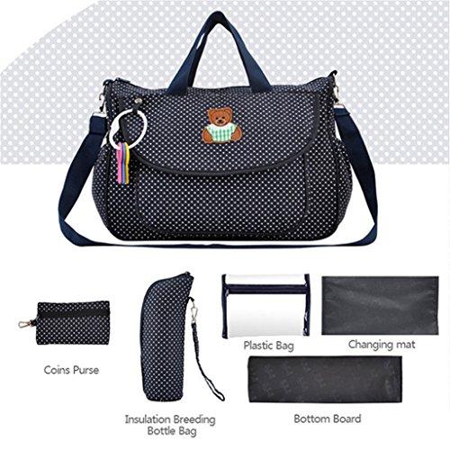 Yummy Mummy Cambio Bolsa de Hobo bolsas de bolso de mano (Polka Dot–Funda para cambiador de bebé oso patrón bolsa de pañales