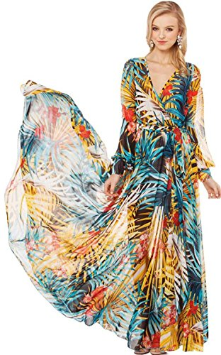 43 City Women's Bohimian Floral Chiffon Beach Long Maxi Party Ball Gown Summer Dress