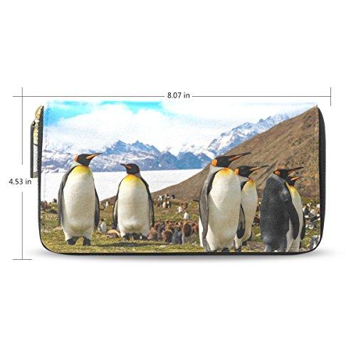 Handbag Blue4 Leather Wallet Zipper Leather Passport ALAZA Purse pu Clutch Penguins Long nSRPSz