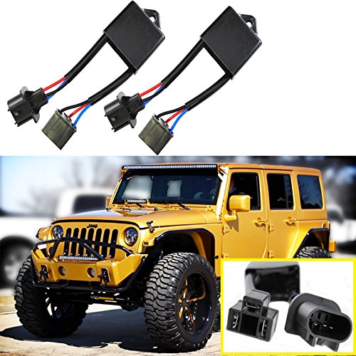 Xotic-Tech-H4-To-H13-Jeep-Wrangler-JK-Anti-Flicker-Decoders-For-Any-7-Round-LED-Headlight