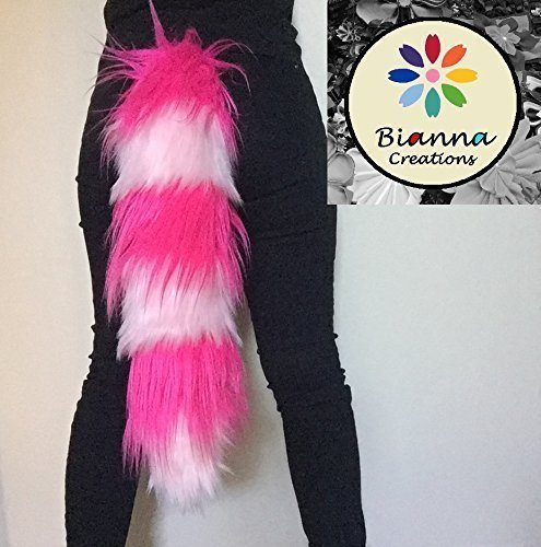 "Bianna Cheshire Hot Pink and Light Pink Tail, Faux Fur Animal Cosplay, Handmade 20 25 30 35 40"", Anime Convention Rave Costume Gear, Furry Fuzzy Striped Accessory"