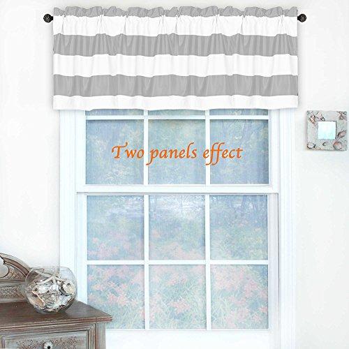 Stripe Valance - Turquoize Rod Pocket Curtain Valance, Kitchen Blackout, 52inch W x 18inch L, Stripes Pattern, Dove Gray and White, 1 piece